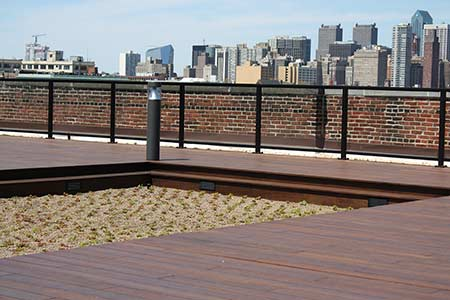 Rooftop deck constructed with dasso.XTR fused bamboo decking