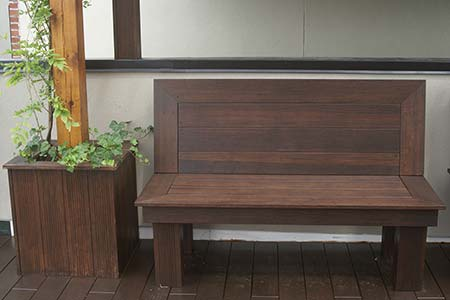 Bamboo bench, planter and decking