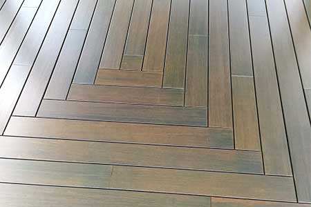 Closeup of dasso.XTR Bamboo Porch Flooring used in private residence