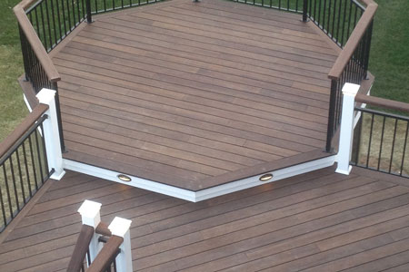 Aerial view of octagonal section of deck constructed with dasso.XTR fused bamboo decking
