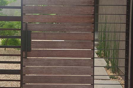 Bamboo decking planks used to create a gate