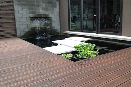 Bamboo decking installation in front of TaC Studios Offices