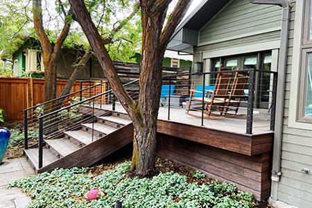 Sold through BMC, this beautiful deck was built with Classic Expresso Fused Bamboo® with 1x8 lumber used for trim, designed by Chris Ashcraft