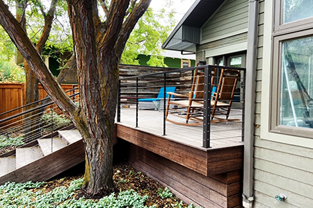 Chris Ashcraft from A1 Decks built and design this 300 sf decking using Classic Espresso Fused Bamboo®