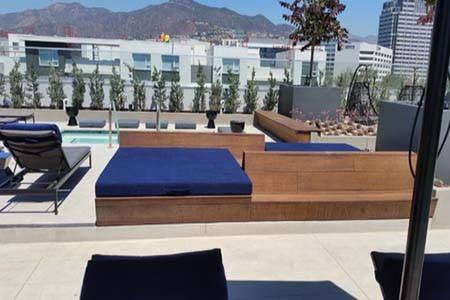 Bamboo benches at the Altana Apartments in Glendale