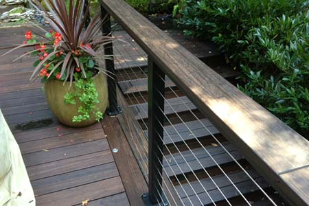 Deck and steps constructed with dasso.XTR fused bamboo decking