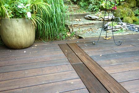 Closeup of decking planks